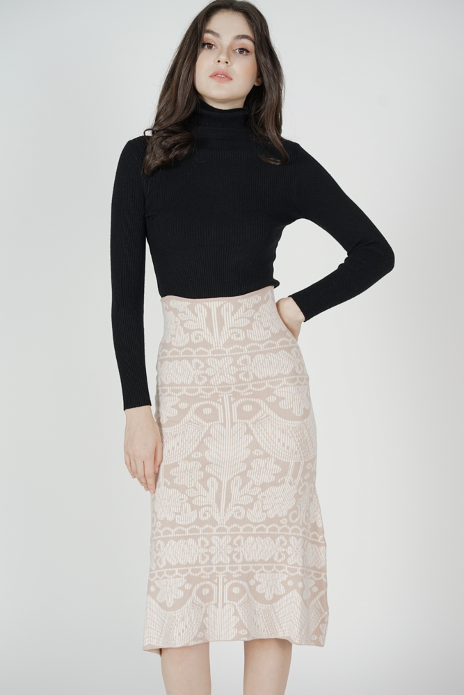 Kabil Printed Knit Skirt in Beige