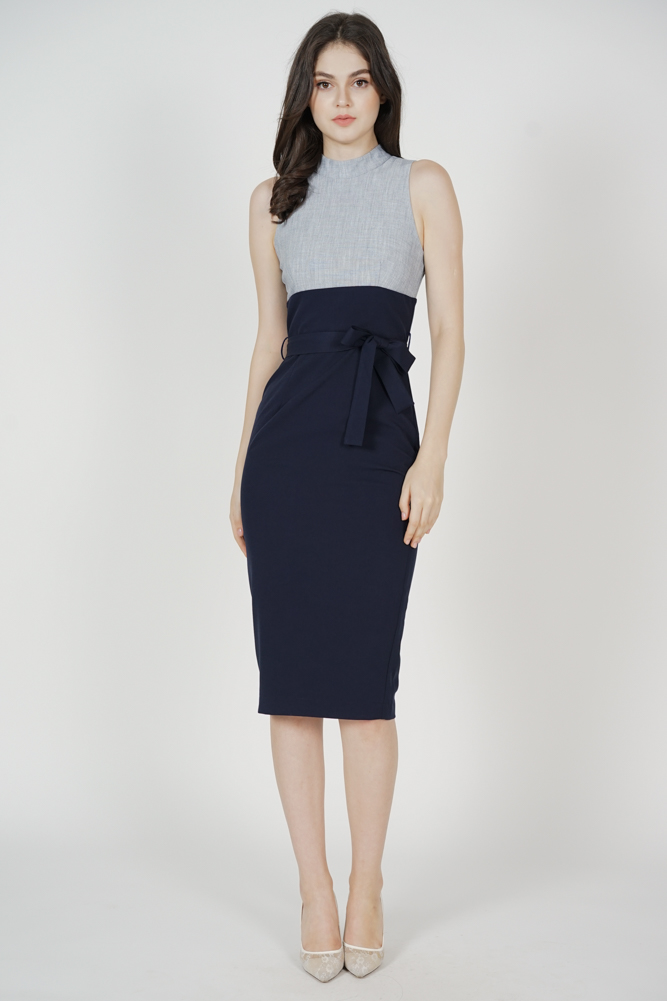 Birea Contrast Dress in Midnight - Arriving Soon