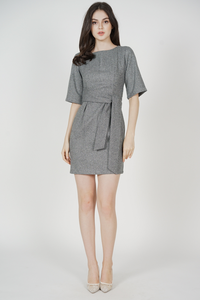 Julissa Belted Tie Dress in Grey - Arriving Soon