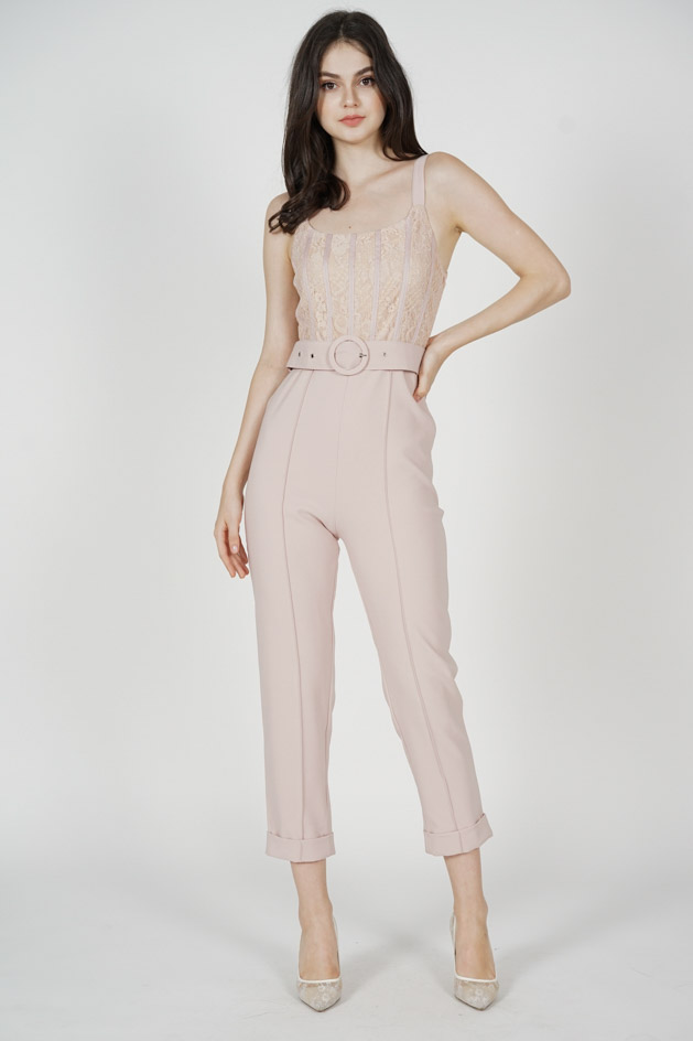 Noah Lace Jumpsuit in Pink - Arriving Soon