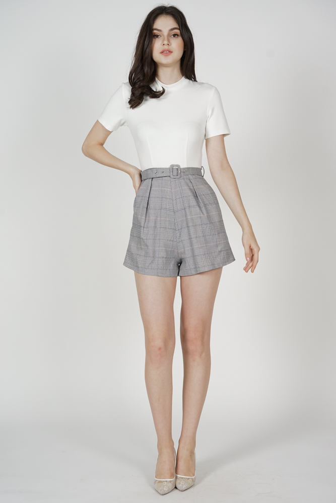 Tiana Contrast Buckled Romper in Grey Checks - Arriving Soon