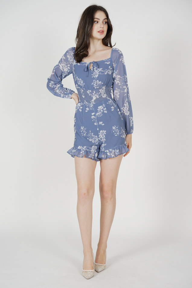 Killan Front Tie Romper in Ash Blue Floral - Arriving Soon