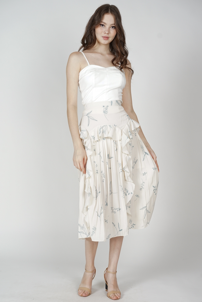 Koni Pleated Skirt in Cream Floral