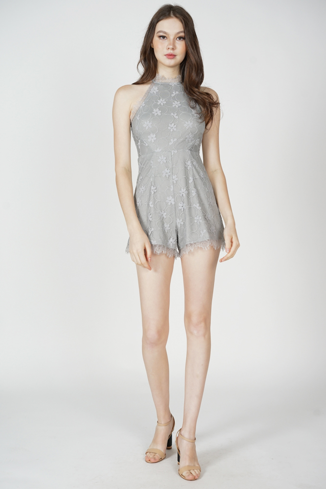 Zael Lace-Trimmed Romper in Dusty Grey - Arriving Soon