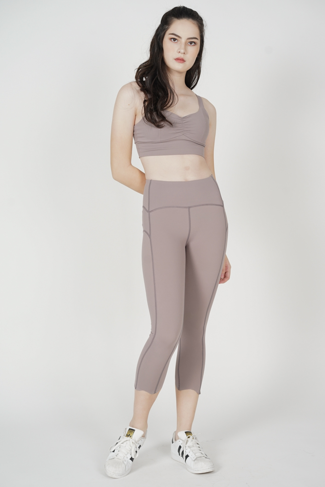 Wendie Gathered Crop Top in Nude - Arriving Soon