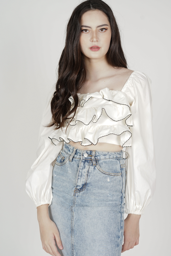 Karla Ruffled Top in White - Arriving Soon