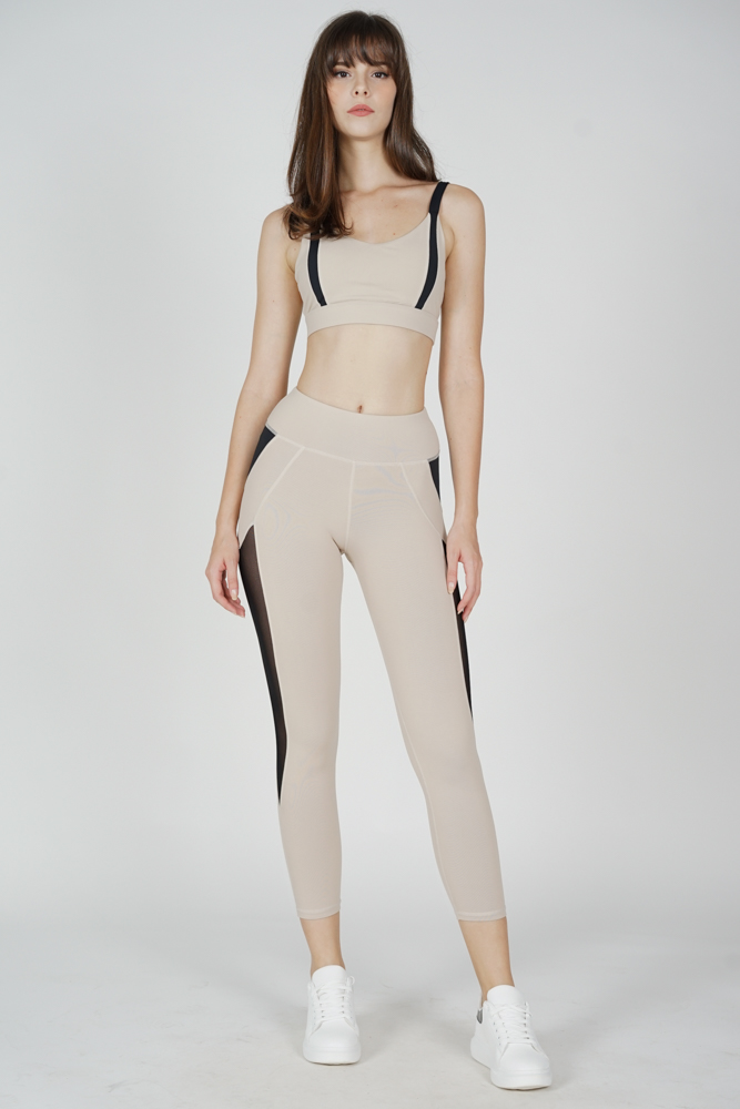 Gabien Contrast Mesh Gym Tights in Cream - Arriving Soon