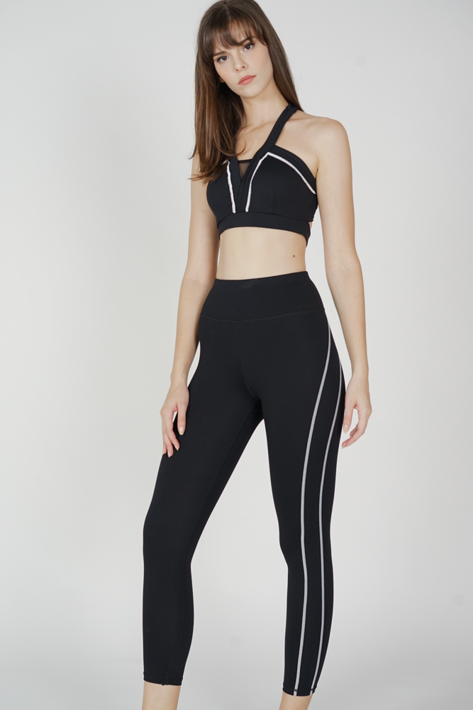 Boran Contrast Gym Tights in Black - Arriving Soon