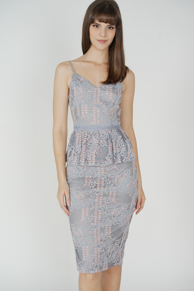 Daycia Lace Dress in Blue Pink - Arriving Soon