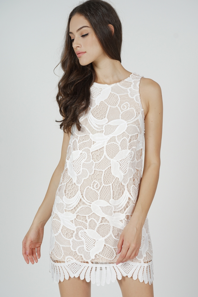 Jorlan Ruffled-Hem Dress in White Brush - Arriving Soon