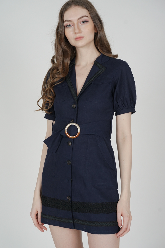 Rubio Buttoned Dress in Midnight - Arriving Soon