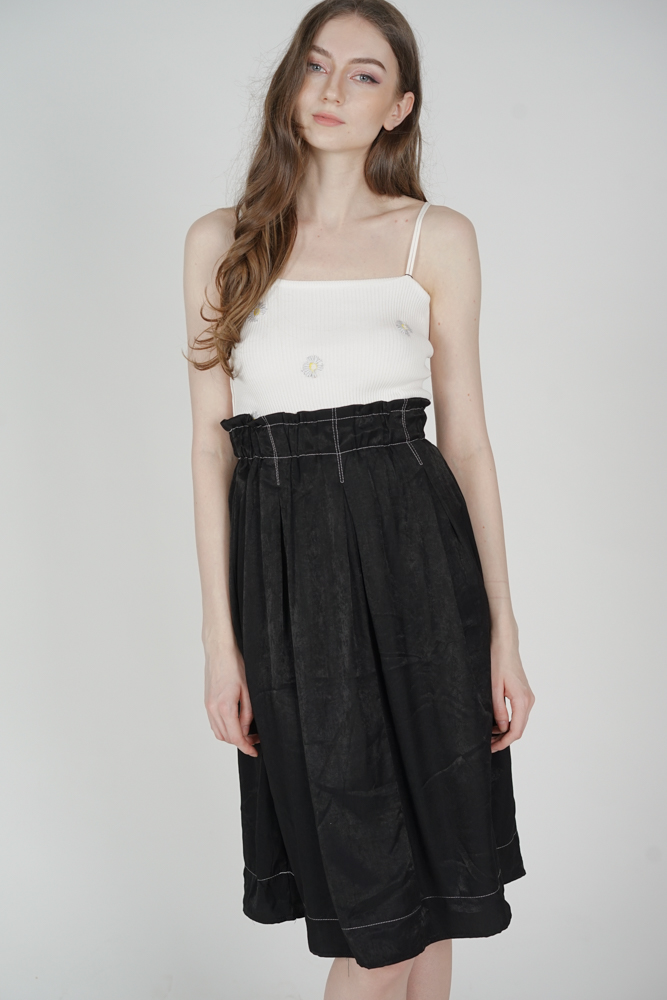 Jacena Midi Skirt in Black - Online Exclusive