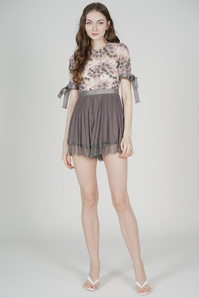 Ruina Pleated Lace Romper in Grey