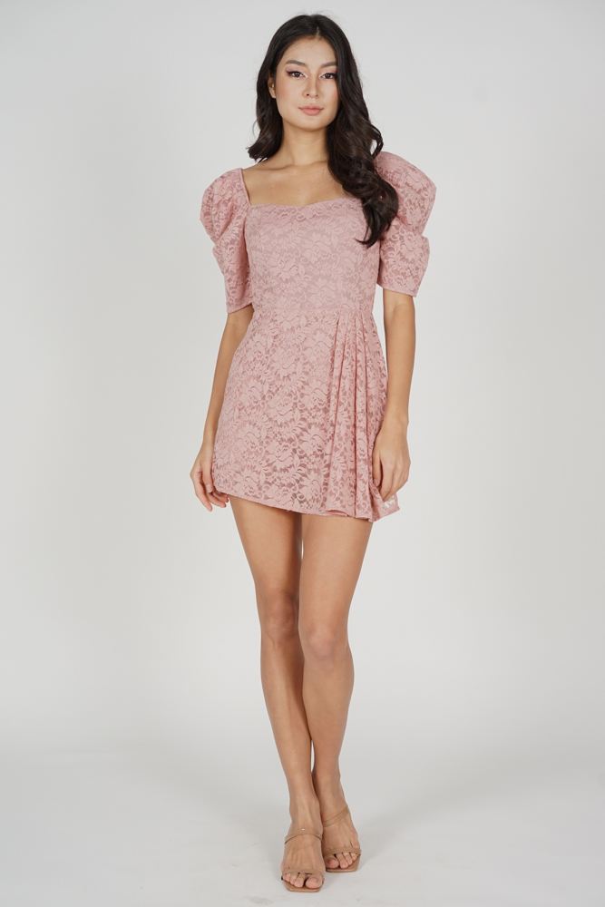 Christin Puffy Skorts Romper in Pink - Arriving Soon