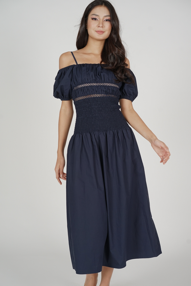 Janey Gathered Dress in Midnight - Arriving Soon