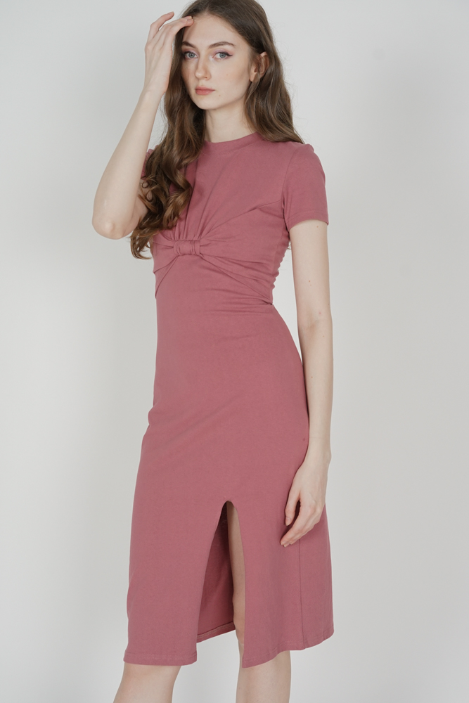 Pristin Front-Knot Dress in Pink
