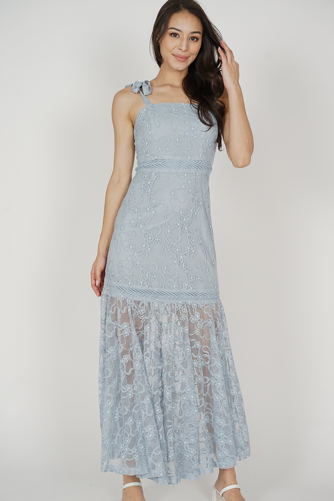 Hanie Maxi Dress in Ash Blue - Arriving Soon