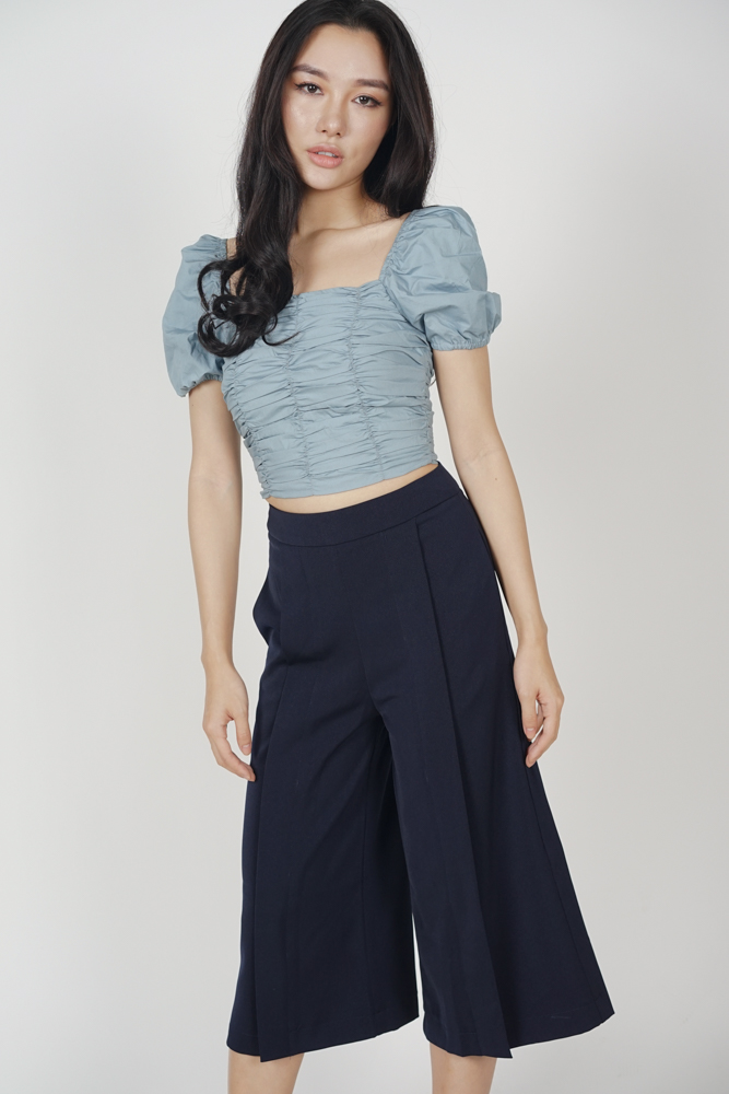 Pleated Culottes in Midnight