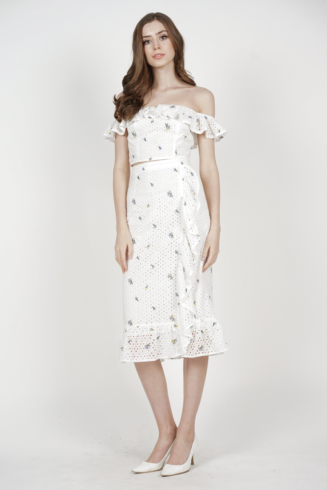 Maedria Ruffled Skirt in White Mini Floral - Arriving Soon
