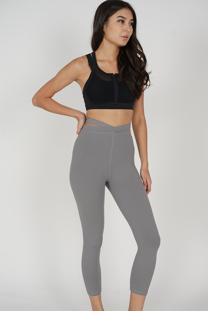 Lenore Cutout Gym Tights in Light Grey - Arriving Soon