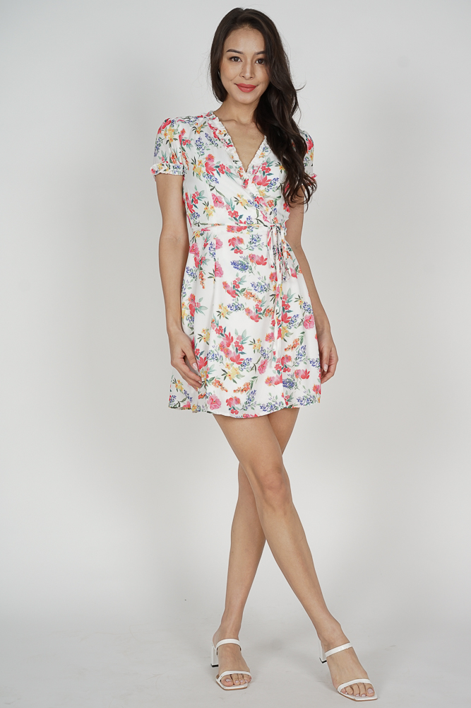 Katy Tie Wrapped Dress in White Red Floral - Arriving Soon
