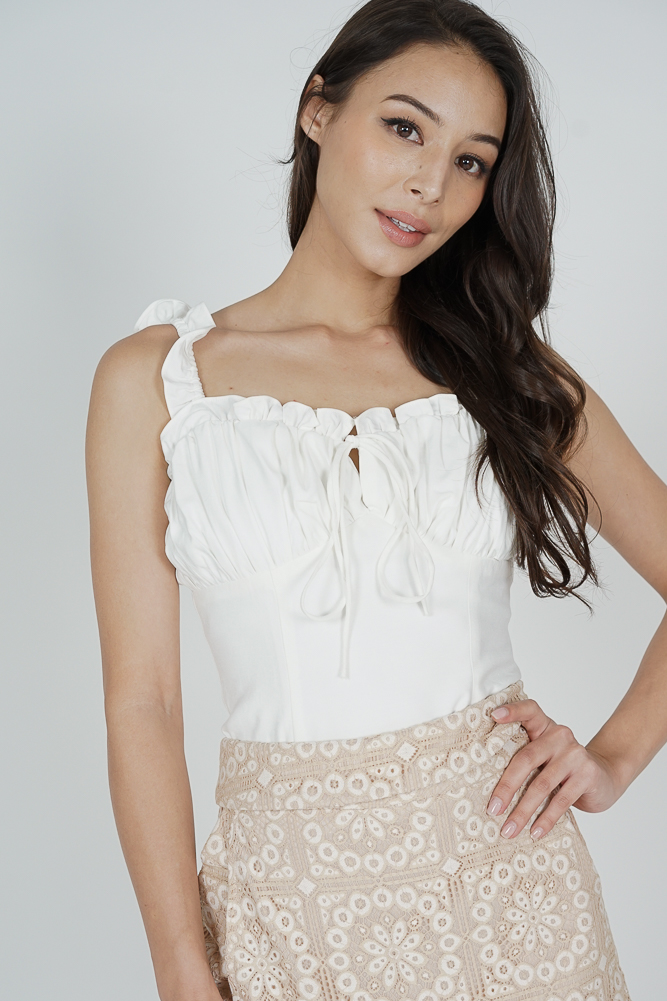 Jeimy Front Tie Top in White - Arriving Soon