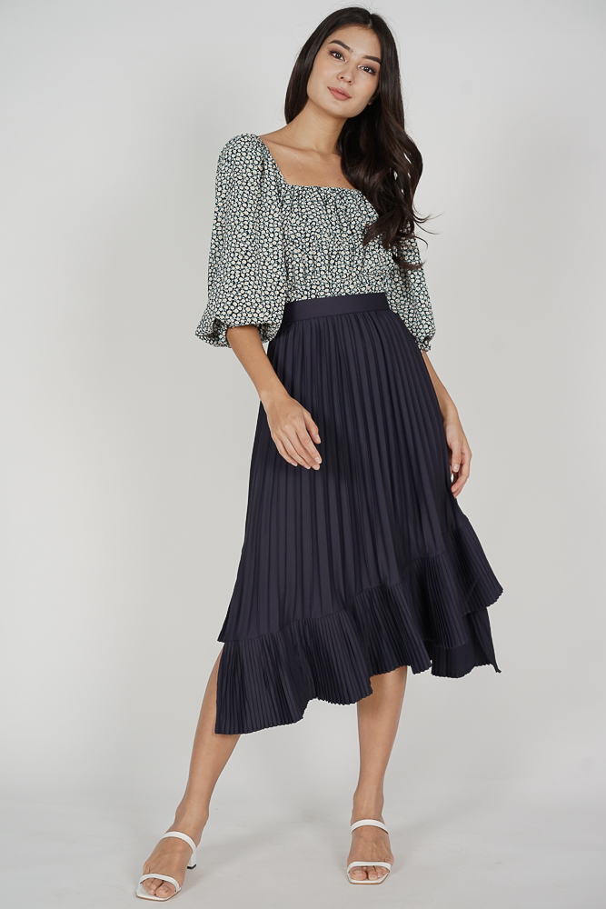 Holden Asymmetrical Pleated Skirt in Midnight - Arriving Soon