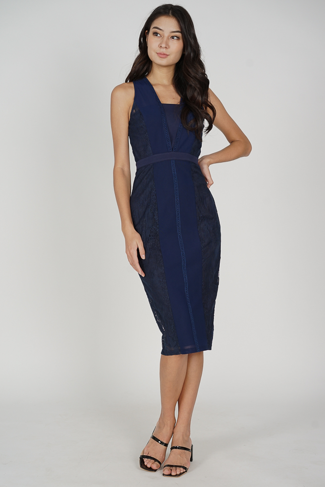 Leiana Mesh Dress in Midnight - Arriving Soon