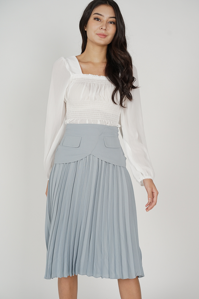 Mariah Pleated Skirt in Ash Blue