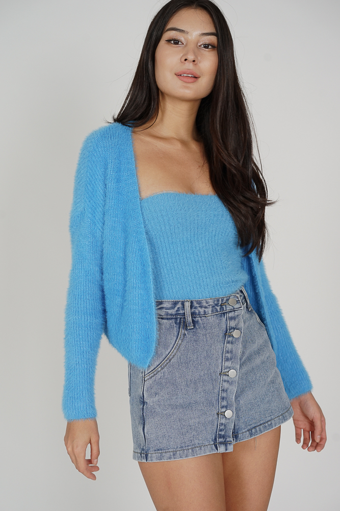 Arshka Two-Piece Cardigan Set in Blue - Online Exclusive