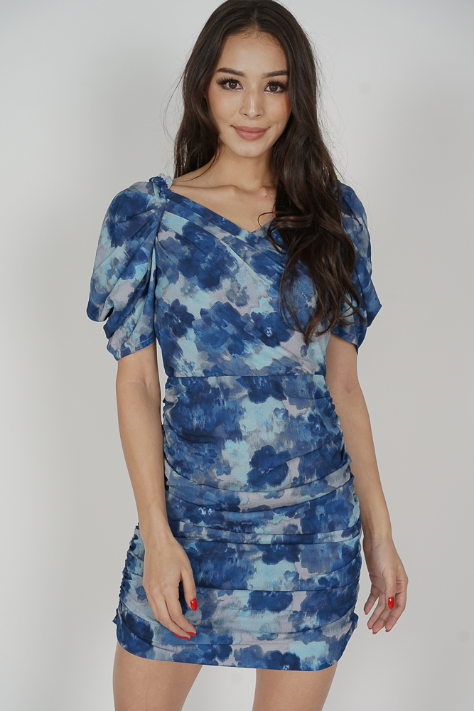 Yuka Ruched Dress in Blue Abstract - Arriving Soon
