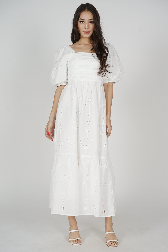 Magnus Puffy Eyelet Dress in White - Arriving Soon