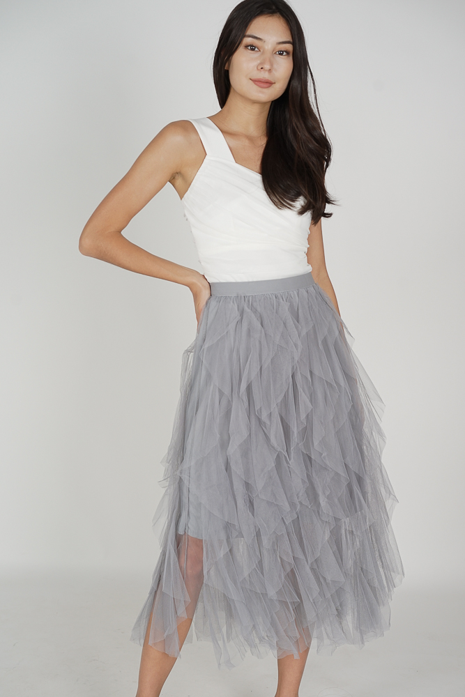 Momo Flutter Skirt in Light Grey - Online Exclusive