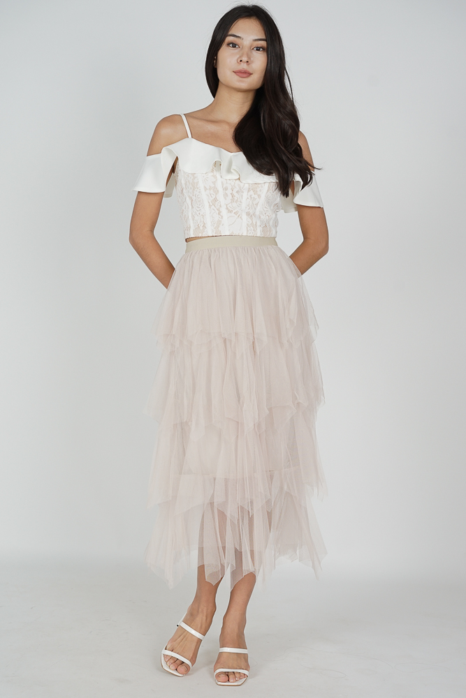 Albo Tiered Tulle Skirt in Champagne - Online Exclusive
