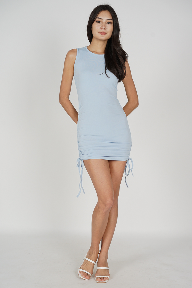 Ellie Ruched Dress in Blue - Online Exclusive