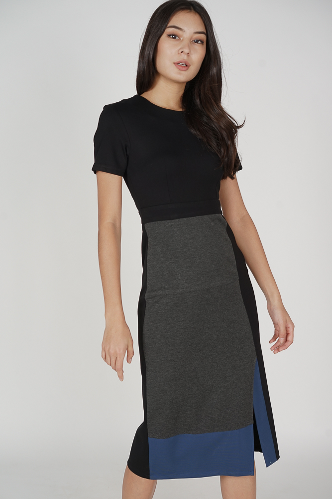 Eunna Color-Block Dress in Black - Arriving Soon