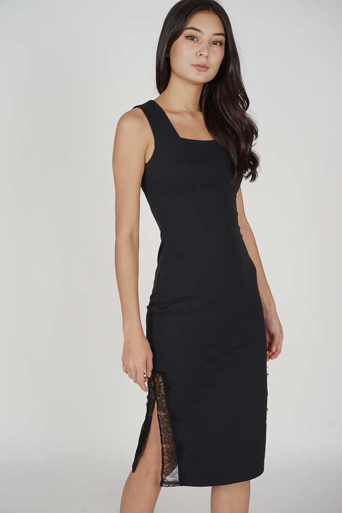 Awina Lace-Trimmed Dress in Black - Arriving Soon