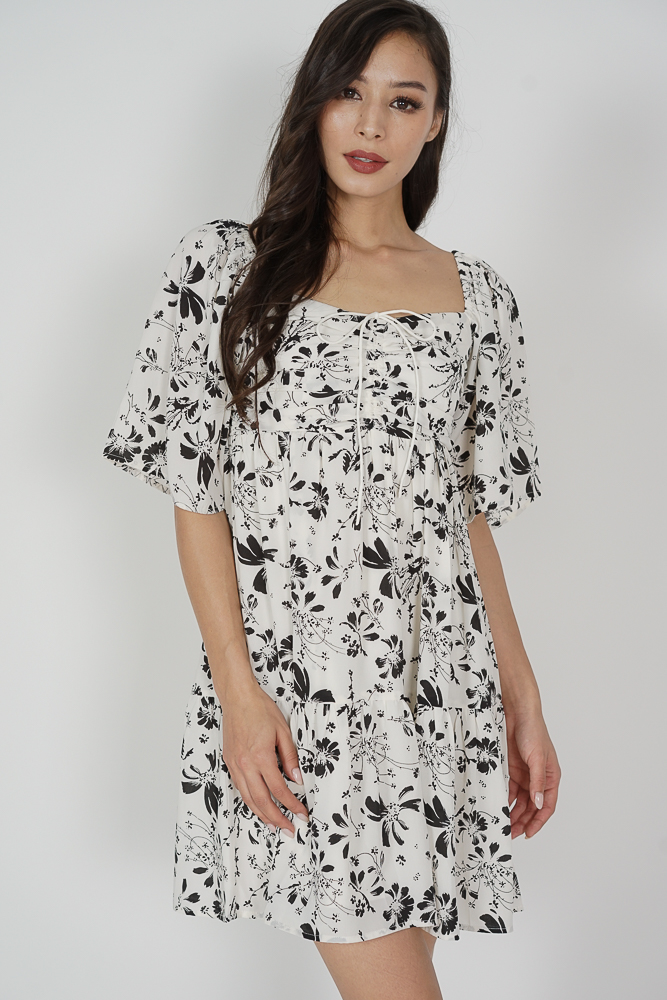 Richie Gathered Dress in White Floral - Arriving Soon