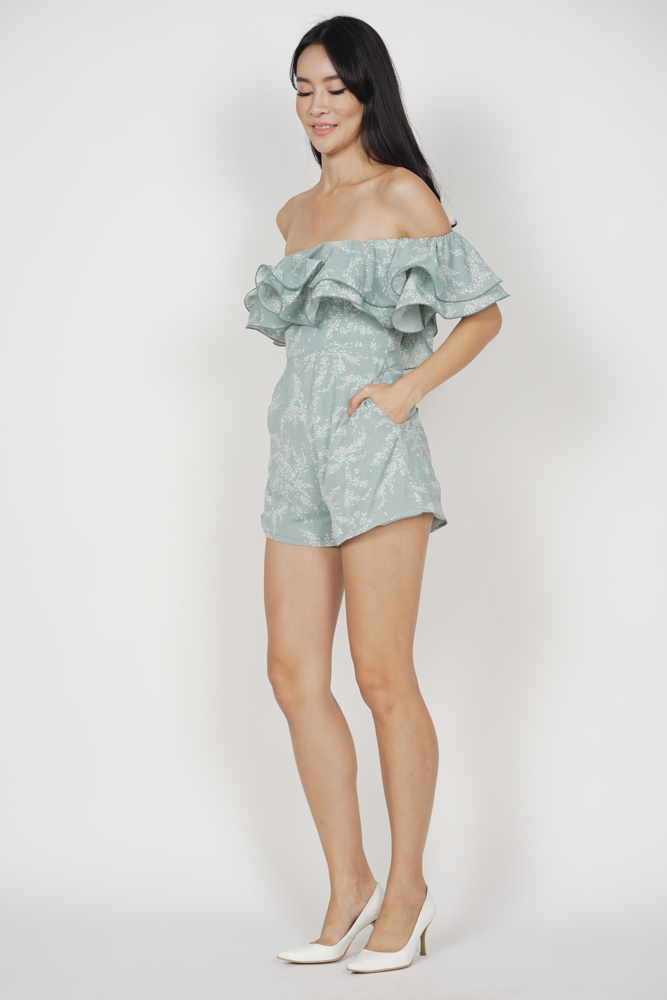 Paesha Ruffled Romper in Mint