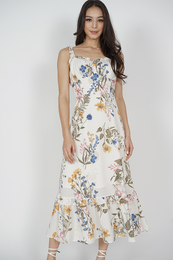 Kenley Tie Front Dress in White Floral - Arriving Soon