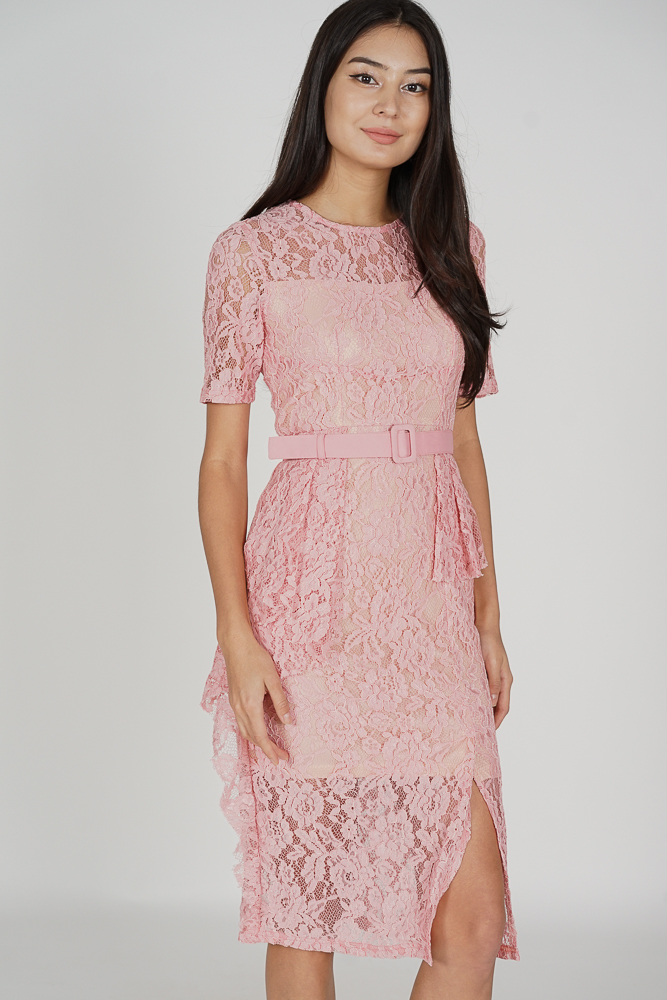 Olesha Lace Dress in Pink