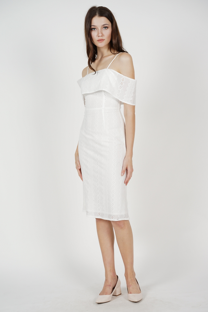 Keilla Overlay Dress in White - Arriving Soon
