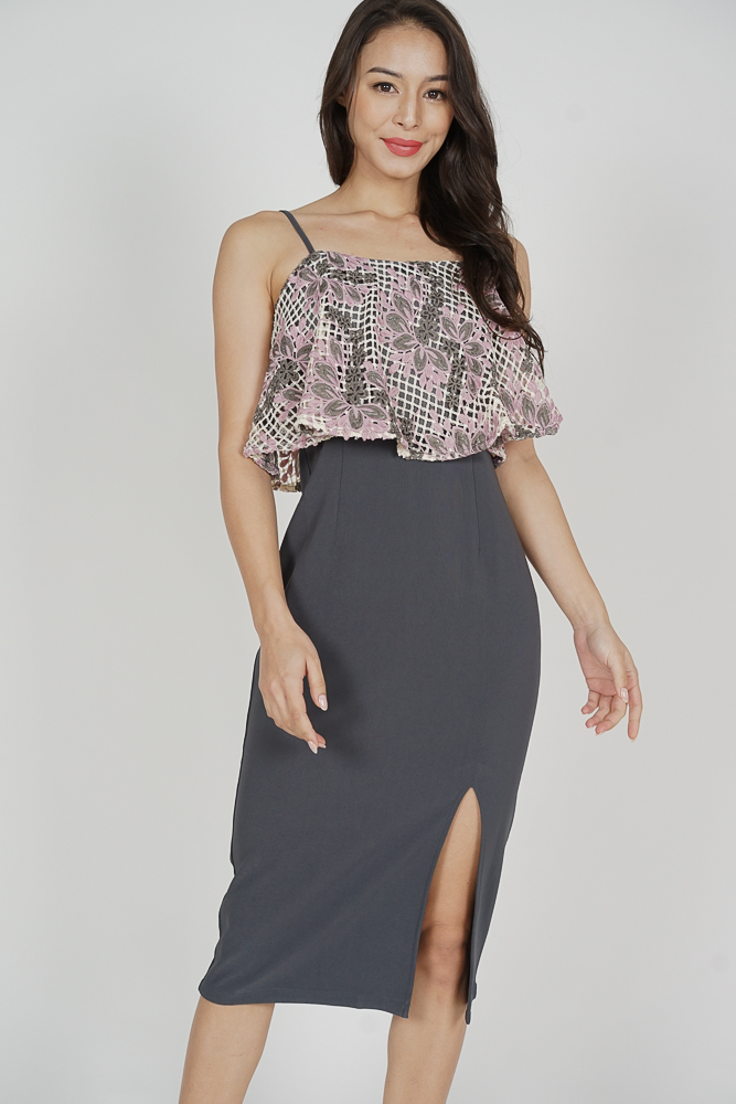 Nessa Crochet Overlay Dress in Dark Grey