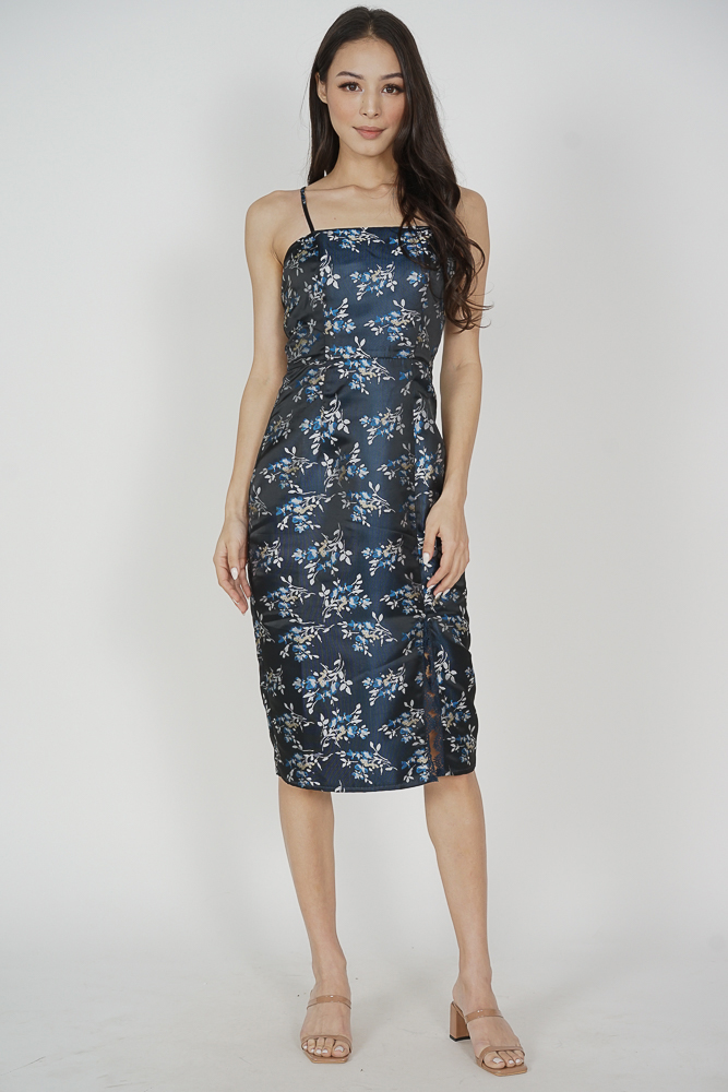 Arabella Jacquard Dress in Midnight Black