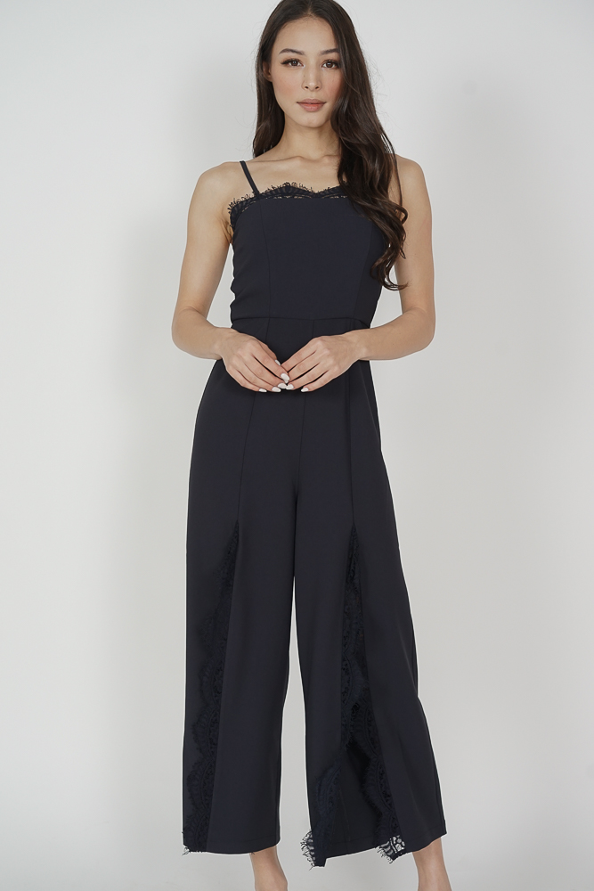 Rinda Lace-Trimmed Jumpsuit in Midnight - Arriving Soon