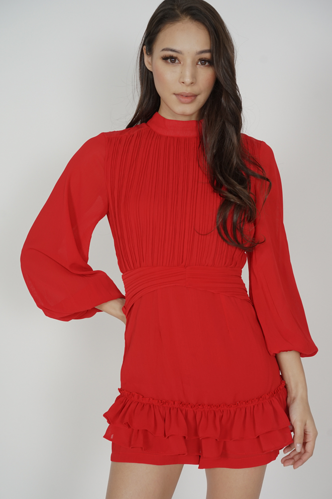 Neena Sleeved Romper in Red