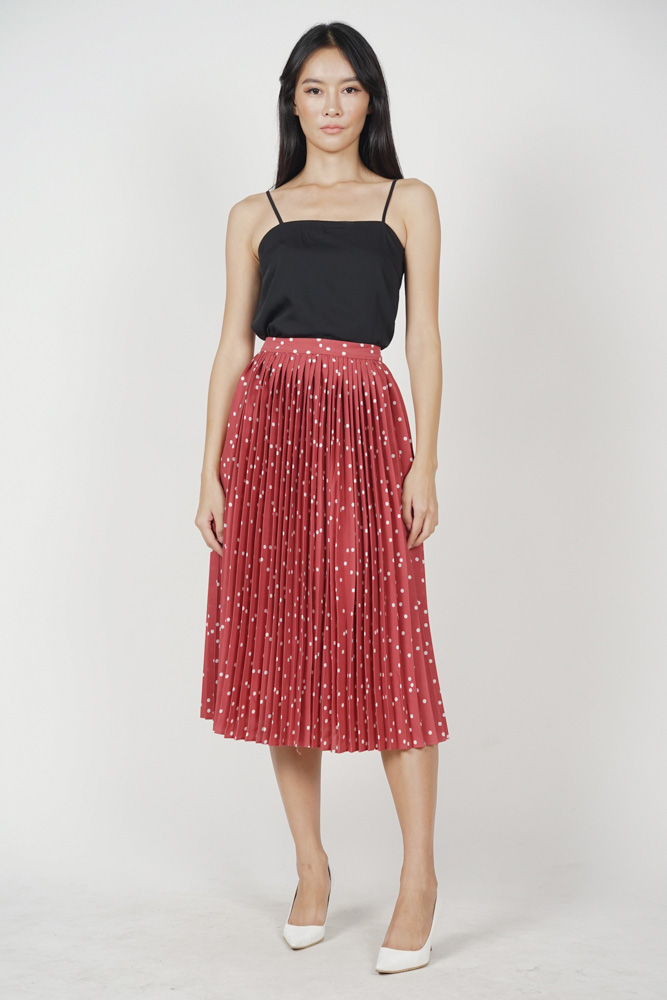 Odalis Pleated Skirt in Maroon Polka Dots