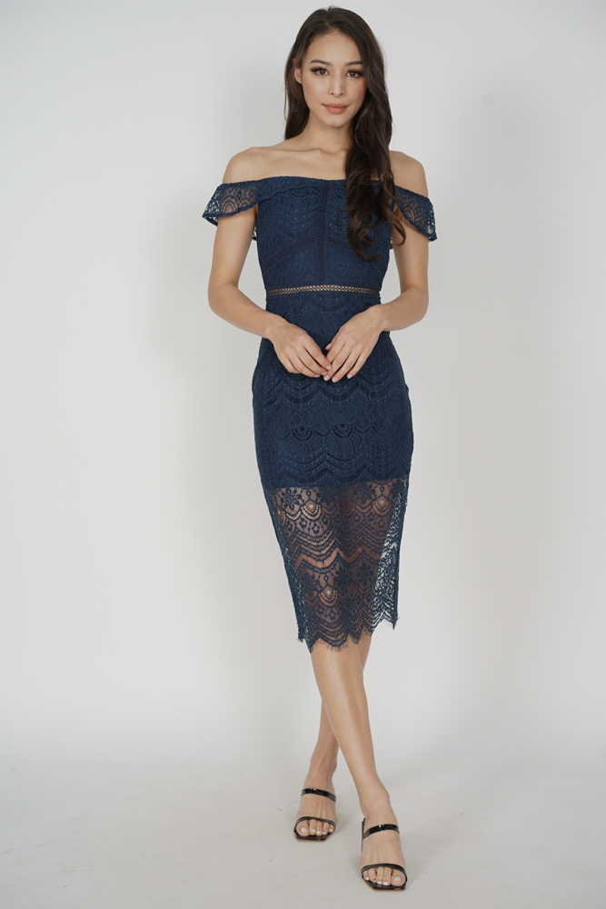 Hailey Lace Dress in Midnight