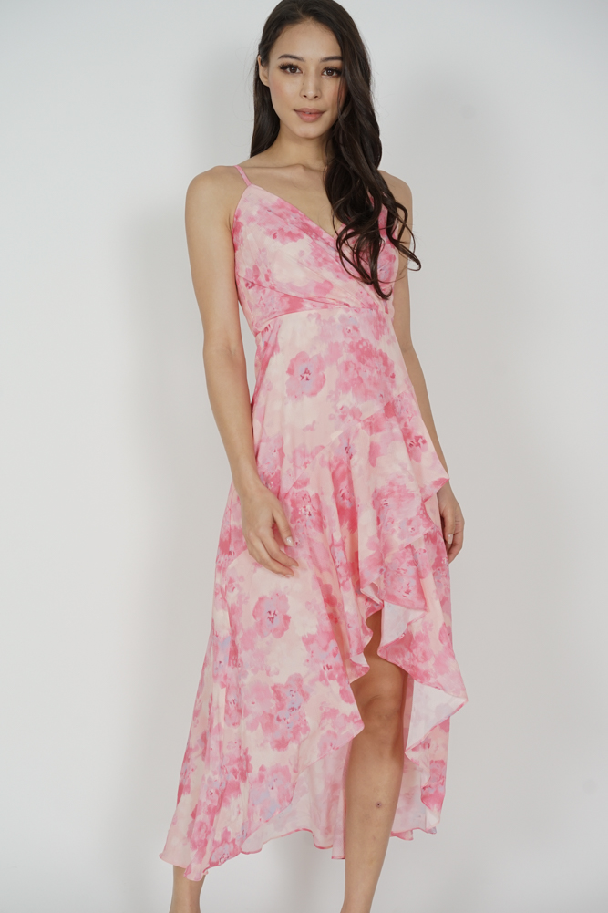 Kennedy Ruffled Dress in Pink Abstract Floral - Arriving Soon