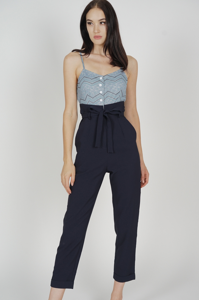 Self-Tie Cami Jumpsuit in Ash Blue Midnight - Arriving Soon